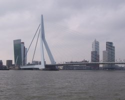 Rotterdam, Netherlands, Erasmus Bridge on a cloudy day