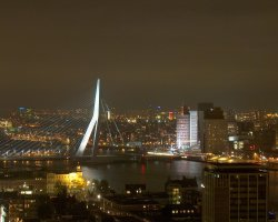Rotterdam, Netherlands, Erasmus Bridge view over the city