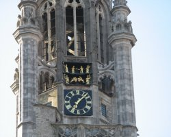 Zeeland, Netherlands, The clock on the tower of the Middelburg Town Hall