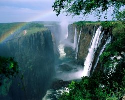 Zimbabwe, Africa, Rainbow over the Victoria Falls