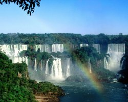 Zimbabwe, Africa, Victoria Falls front view with rainbow
