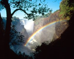Zimbabwe, Africa, Victoria Falls view trough rainbow
