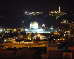 Jerusalem, Israel, Dome of the Rock at night
