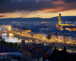 Amazing Holiday, Florence, Italy, Ponte Vecchio lit in the night