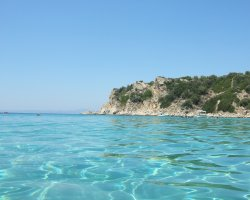 Ammouliani, Greece, Gulf with crystal clear waters