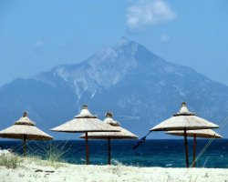 Sithonia, Greece, Mount Athos as background
