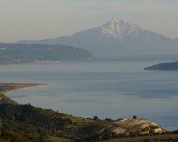 Ammouliani, Greece, Gulf with Mountain Athos as background