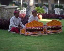 Bali, Indonesia, Traditional Gamelan during breakfast