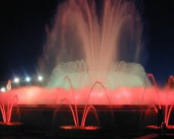 Barcelona, Spain, Magic fountain on Montjuic Placa at night