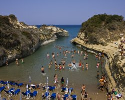 Beaches in Corfu, Corfu, Greece, Canal Damour with tourists