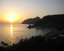 Beaches in Corfu, Corfu, Greece, Pelekas sunset
