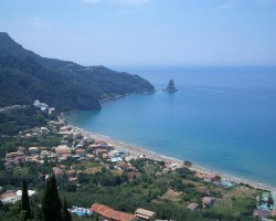 Beaches in Corfu, Corfu, Greece, Agios Gordios panorama