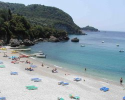 Beaches in Corfu, Corfu, Greece, Liapades resort beach panorama