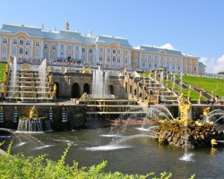 Beautiful Garden Holiday, Peterhof Palace Gardens, Russia, Palace front view