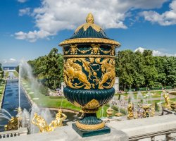 Beautiful Garden Holiday, Peterhof Palace Gardens, Russia, Terrace vase detailed view