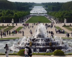 Beautiful Garden Holiday, Versailles Palace Gardens, France, Fountain overview scenery