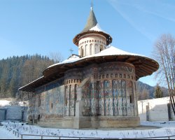 Beautiful Monastery, Voronet, Romania, Outside view winter time