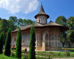 Beautiful Monastery, Voronet, Romania, Outside view summer time