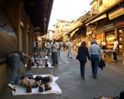 Beautiful sights Florence, Italy, Ponte Vecchio market street