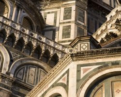 Beautiful sights Florence, Italy, Il Duomo exterior architecture detail