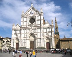 Beautiful sights Florence, Italy, Church of Santa Croce esterior view