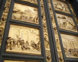 Beautiful sights Florence, Italy, Gates of Paradise details