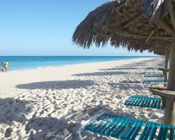 Beautiful World Beaches, Grace Bay, Turks and Caicos Islands, Sand and lounges