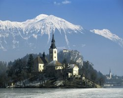 Bled, Slovenia, Alps view from the lake