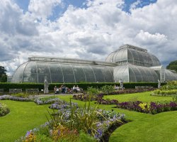 Botanical Garden Holiday, England, Kew Gardens Palm House panorama