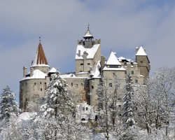Bran Castle, Romania, Castle overview at winter