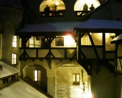 Bran Castle, Romania, Courtyard view at night