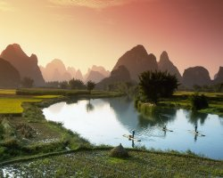 Breathtaking Landscapes, Guilin, China, Asia, Rice fields