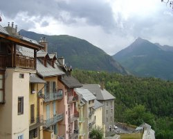 Briancon, France, Mist over the mountain