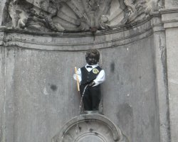 Brussels, Belgium, The famous Little Manneken Pis in his tux outfit