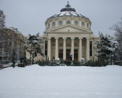 Bucharest, Romania, Athenaeum at winter