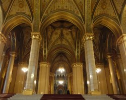 Parliament, Budapest, Hungary, Interior stairs view