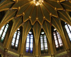 Parliament, Budapest, Hungary, Dome interior ceiling view