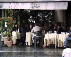 Best Cafe Holiday, Rome, Italy, Rosati cafe on rain day
