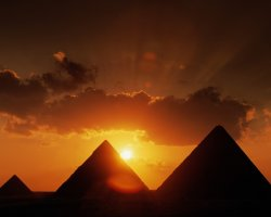 Cairo, Egypt, Pyramids at sunset