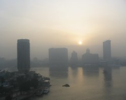 Cairo, Egypt, Sunrise over the Nile river