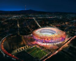 Camp Nou, Barcelona, Spain, HDR Concept by night
