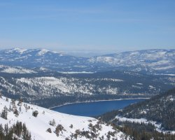 Lake Tahoe, Sierra Nevada, USA, Slope and Lake panorama