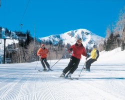 Park City, Utah, USA, Slope with tourists