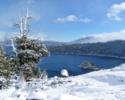Lake Tahoe, Sierra Nevada, USA, Winter view