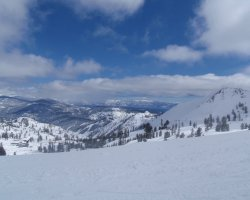 Lake Tahoe, Sierra Nevada, USA, Slope ready for tourists