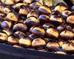 Christmas market, Angers, France, roasted chestnuts