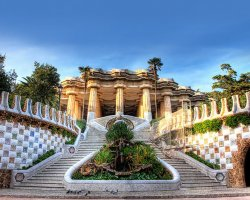 Christmas market, Barcelona, Spain, Park Guell, Stairs
