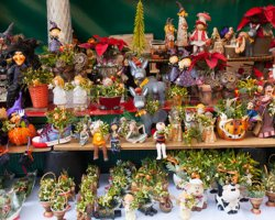 Christmas market, Barcelona, Spain, floral decorations stall