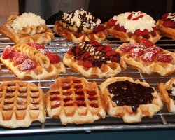 Christmas market, Bruxelles, Belgium, waffles stand