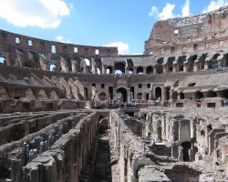 City Break Holiday, Rome, Italy, Colosseum inside close arena view